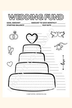 Wedding savings tracker printable. Visual motivator to help you save up for the wedding of your dreams. Whether you want to have a small and intimate wedding or a big fancy party, this savings tracker can help you get there. Having a visual tracker is so helpful and it's a fun way to track your progress. Hang it up on your wall or fridge and watch your savings grow! Life On A Budget, Debt Free Living, Paying Off Student Loans, Create A Budget, Frugal Living Tips, Fancy Party, Love Your Life, Saving Money, Printables
