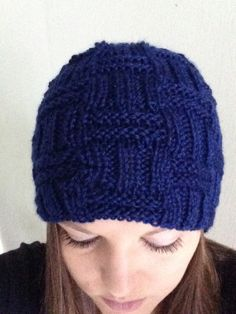 Royal Blue Basketweave Beanie Hat Adult by MnStyle on Etsy, $40.00