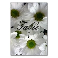 Wedding Table Number Card White Daisy Flower Table Cards