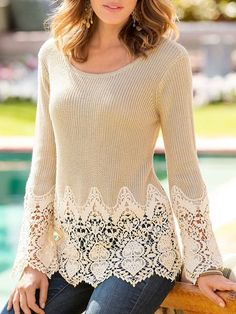 Chic Lace Splicing Solid Color Long Sleeve Scoop Neck Pullover Sweater For Women