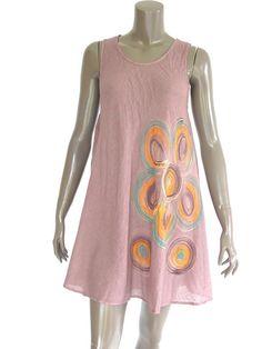 Smoke Cream Short Sleeveless Cotton Women Dress  by NaniFashion, $36.00