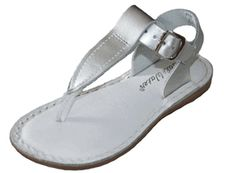 """My Saltwater Sandals T-Thong Silver. Called the """"Salt Water"""" Sandals because they stand up even in salt water. Flexible, high grade sole and heavy, durable leather straps for easy-going comfort and long wear."""