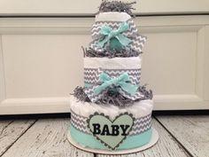 Mint Jubilee Chevron Diaper Cake, Baby Shower Gift on Etsy, $45.00