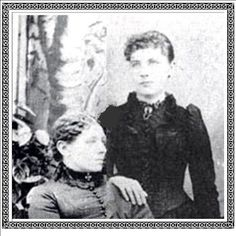 caroline ingalls and i think laura ingalls is the one standingl