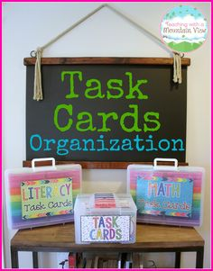 A new task card organization system!  I love that this is so organized and includes options for quarter page task cards and half page task cards, too!