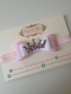 Princess Crown Fairy dust glitter bow baby / girl by RosesandBows1