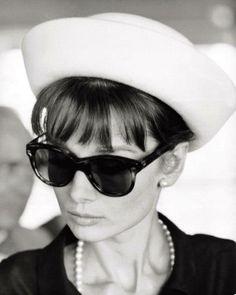 Hat, Pearls, Bangs Sunglasses. Perfect.