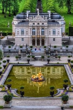 Linderhof Palace located in a valley near the village of Oberammergau, in the Federal State of Bavaria, Germany. It is the smallest of the three palaces built by Luis II of Bavaria and the only one that was finished.