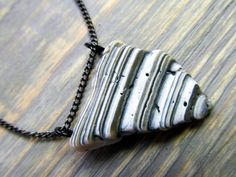 Seashell Jewelry: Striped Broken Seashell Necklace featuring New Jersey Seashell  This piece of shell was collected by me on the beach of Spring
