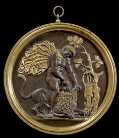 Antico   Hercules and the Nemean Lion, c. 1496, bronze with gilding and silvering framed: 32.8 cm (12 7/8 in.). Museo Nazionale del Bargello, Florence