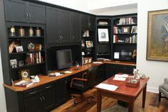 Genealogy Office Built Ins -  Upper shelves covered for notebooks with open space and work area