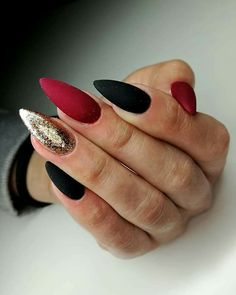 36 Perfect and Outstanding Nail Designs for Winter dark color nails; nude and sparkle nails; The post 36 Perfect and Outstanding Nail Designs for Winter dark color nails; Gel n& appeared first on Nails. Dark Color Nails, Gray Nails, Matte Nails, Stiletto Nails, Nail Colors, Acrylic Nails, Maroon Nails, Winter Nail Designs, Cool Nail Designs