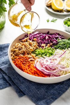 Vegan No Mayo Coleslaw Recipe With Sugar-Free Olive Oil Vinegar Dressing - - Anisha Howell Salad Recipes Healthy Coleslaw Dressing, No Mayo Coleslaw, Healthy Coleslaw Recipes, Vinegar Coleslaw, Vegetarian Recipes, Cooking Recipes, Coleslaw Recipe Without Mayonnaise, Spicy Coleslaw, Sugar Free Coleslaw Recipe