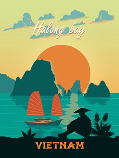 Vietnam travel poster retro Vintage print wall art minimalism gift decor