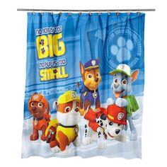 "Paw Patrol Fabric Shower Curtain: Spruce up your bathroom with this Nickelodeon Paw Patrol ""Rescue Crew"" Fabric Shower Curtain. Shower Curtain Hooks, Fabric Shower Curtains, Panel Curtains, Sheer Curtains, Curtain Fabric, Paw Patrol Rescue, Bathroom Kids, Disney Bathroom, Bathroom Stuff"