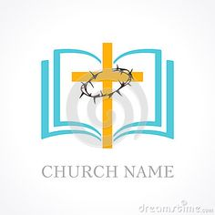Illustration about Template logo for the church in the form of a cross and a crown of thorns and open bible. Illustration of books, life, stigma - 70909930 Open Bible, Open Book, Hammer Logo, Church Graphic Design, Church Logo, School Clipart, Hand Logo, School Logo, Print Templates