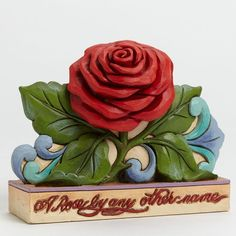 Jim Shore Red Rose | Jim Shores beautifully sculpted Rose is a colorful symbol of romance. The quotation is the famous passage from Act II Scene II in Shakespeares Romeo and Juliet that asks What is in a name?