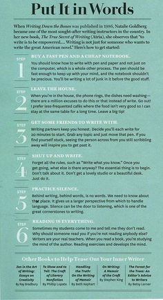 Natalie Goldberg - How to start writing - Writers Write ***Maybe, just maybe, this could cure my writers block? Book Writing Tips, Writing Words, Writing Quotes, Writing Process, Writing Resources, Start Writing, Writing Help, Writing Skills, Writing Ideas