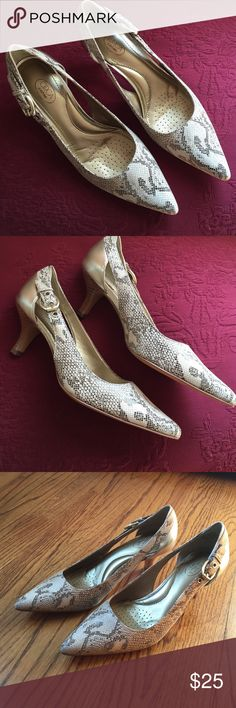Beige snakeskin pumps, never worn Callalilly brown & gold snake pattern. Brand new in the box. Really pretty heels, small buckle on the side. I can't wear heels anymore!! ☹️ Circa Joan & David Shoes Heels