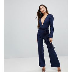Missguided V-Neck Plunge Long Sleeve Tie Waist Jumpsuit ($68) ❤ liked on Polyvore featuring jumpsuits, navy, cropped jumpsuit, long sleeve bodycon jumpsuit, navy long sleeve jumpsuit, plunge neck jumpsuit and wide leg jumpsuit
