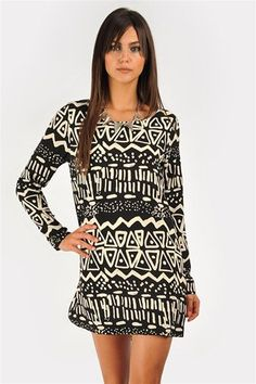Leila Print Dress - Black/White at Necessary Clothing