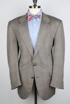 Burberry s Vtg Light Tweed Beige Grey Herringbone 44 L mens Sport Coat  #Burberry #TwoButton