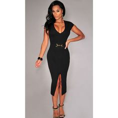 A sleek belted piece featuring a front slit that speaks nothing but a sophisticated allure. This belted front slit midi dress has a super sexy V neckline. Cheap Party Dresses, Wedding Party Dresses, Sexy Dresses, Dresses For Sale, Fashion Dresses, Dress Sale, Party Outfits, Evening Dresses
