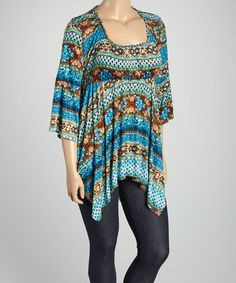 Another great find on #zulily! Blue & Brown Abstract Scoop Neck Tunic - Plus #zulilyfinds