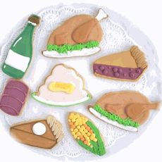Assorted Thanksgiving Theme Cookies from http://www.mybabyshowerfavors.com/thanksgiving-cookies.html