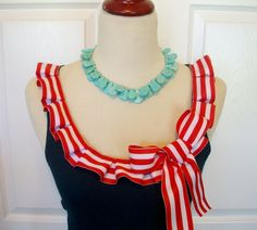 Embellished Tank Top with Fun Nautical Sailor Red and White Box Pleat Ruffle and Bow. $38.00, via Etsy.