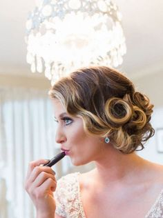 retro 1920s 1940s vintage low pin curl updo wave hairstyle wavy.