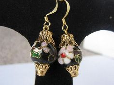 Ornament earrings cloisonne black by MelsBellsJewelry, $10.00 USD, #zibbet