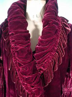 c. 1920's/1930's Plum Silk Velvet Short Evening Coat. Detail