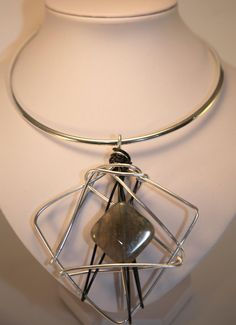 choker with pendant..agate stone (gray-blue)  black and silver (plated) wire