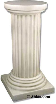 Doric Greek Column Pedestal - Greek column pedestal with Doric top capital. A simple and elegant pedestal with flutes down the side and a rounded top platform make this piece a classic. Several finish options available for this piece.