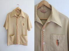 1950s Men's Shirt / Vintage 50s 60s by SavvySpinsterVintage, $68.00