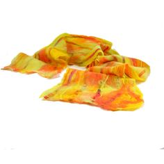 Cobweb Felt Scarf Wool Scarf Winter Scarf Gift for Her Womens Scarf... ($64) via Polyvore featuring accessories, scarves, light weight scarves, yellow shawl, wool scarves, woolen scarves and yellow scarves
