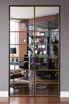 Mirror panel doors with bronze detailing- full height with leather handle plates
