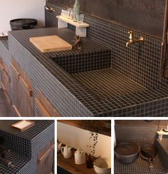 Kitchen Interior, Kitchen Design, Greek Decor, Garden Sink, Japanese Style House, Outdoor Sinks, Counter Design, Concrete Kitchen, Japanese Interior