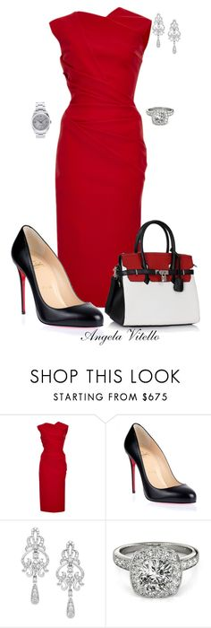 """Untitled #605"" by angela-vitello on Polyvore featuring Preen, Christian Louboutin, Wrapped In Love, Allurez and Rolex"