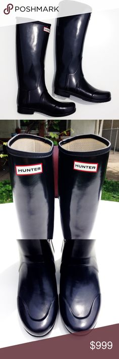 HUNTER boots In classic black and in good condition. Just a little wear on the sole as the pictures show. The length is appx 15 inches. The length of the foot is appx. 10 inches. Thank you for visiting my closet. I almost always ship the next day. Have a great day! Hunter Shoes Winter & Rain Boots