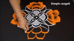 simple rangoli colors and designs by jayanthi - kolam for diwali with dots - flower muggulu Diwali Special Rangoli Design, Rangoli Colours, Simple Rangoli, Rangoli Designs, Dots, Wreaths, Colors, Flowers, Home Decor