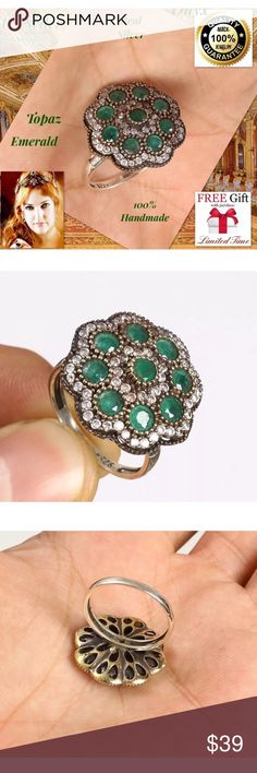 """925K SILVER RING EMERALD TOPAZ 8,5 %100 HANDMADE 925K STERLING REAL SILVER RING TURKISH HANDMADE Best Price! + FREE GIFT! DESCRIPTION: Size: 8,5 Metal: 925 Sterling Silver/Brass  Stone: Topaz,EMERALD  Head Size: 0.83"""" Weight: 8,43 grams Made From Turkey Handmade High QualityWorkmanship The Photos in Our Auctions Are Of The Actual You Receive All our products are individually 925 for silver purity.  All items sold are brand new. Package Include: 1pc Ring + Limited time free nano microfiber…"""