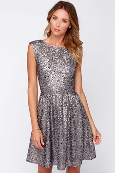 --- love this color too ---  Midnight Mood Grey Sequin Dress at Lulus.com!