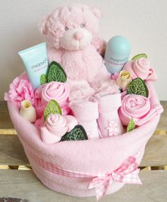 Baby Girl Nappy Cake Bouquet Arrangement by Say It Baby