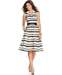 From Macy's By Jones New York Sleeveless Belted Striped A-Line Dress $88