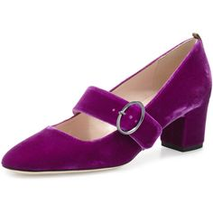 SJP by Sarah Jessica Parker Tartt Velvet Mary Jane Pump ($380) ❤ liked on Polyvore featuring shoes, pumps, purple velvet, mid-heel pumps, block-heel mary janes, round toe pumps, t-strap mary janes and sjp shoes