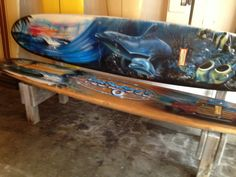 Surfboard bench. Awesome
