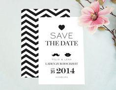 Hochzeitskarte / Save the Date / Herz / PDF von EULENSCHNITT auf DaWanda.com