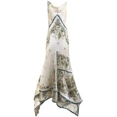 Preowned Rare Roberto Cavalli Off White Silk Charmeuse Floral Print... ($3,800) ❤ liked on Polyvore featuring dresses, gowns, evening gowns, white, floral dresses, floral print gowns, flower print dress, floral print dress and champagne gown